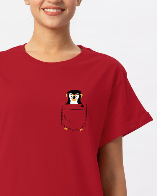Shop Pocket Penguin Boyfriend T-Shirt-Front