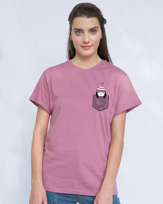 Shop Pocket Penguin Frosty Boyfriend T-Shirt-Back