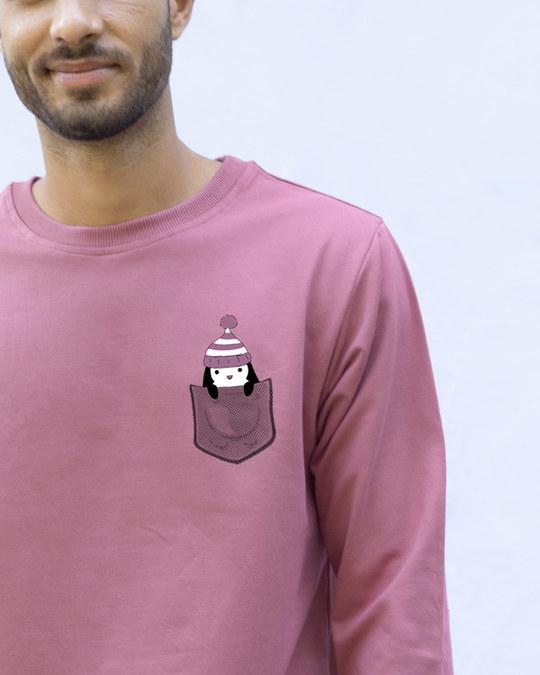 Shop Pocket Penguin Frosty Fleece Light Sweatshirt-Front