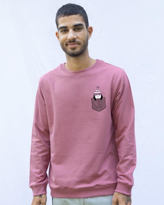 Shop Pocket Penguin Frosty Fleece Light Sweatshirt-Back