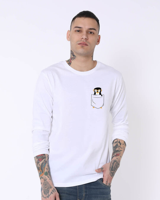 Shop Pocket Penguin Full Sleeve T-Shirt-Back