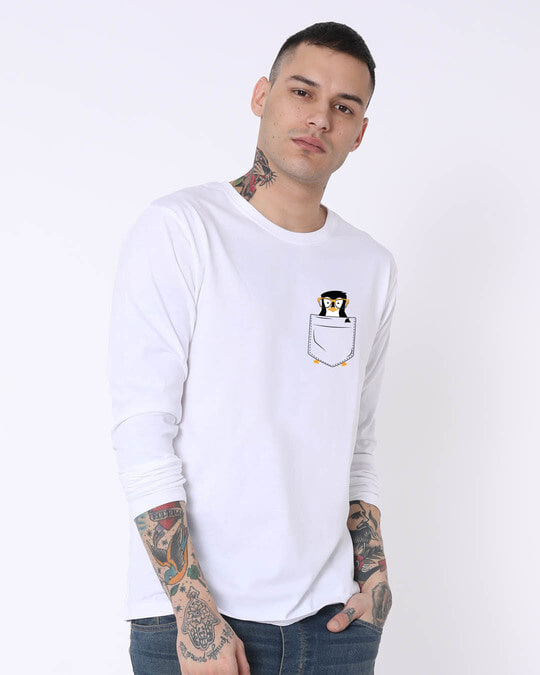 Shop Pocket Penguin Full Sleeve T-Shirt-Design