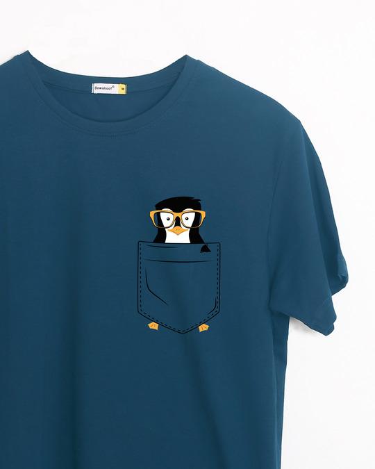 Shop Pocket Penguin Half Sleeve T-Shirt-Front
