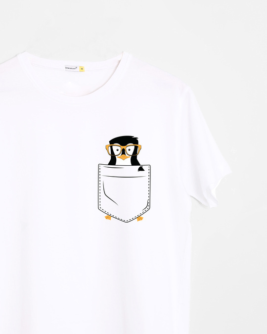 Shop Pocket Penguin Half Sleeve T-Shirt-Front