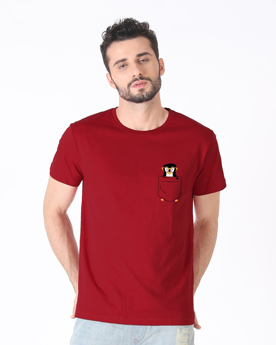 Shop Pocket Penguin Half Sleeve T-Shirt-Back