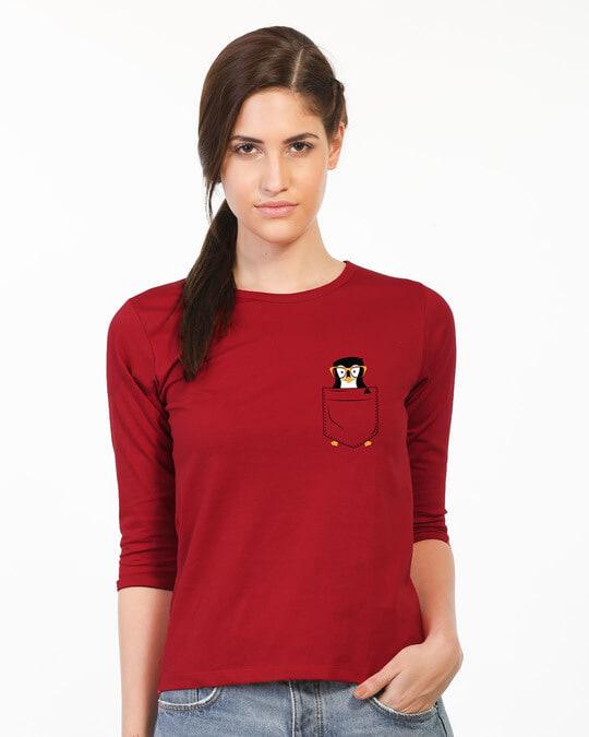 Shop Pocket Penguin Round Neck 3/4th Sleeve T-Shirt-Back