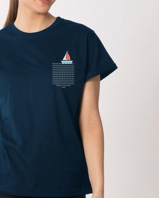 Shop Pocket Sailling Boyfriend T-Shirt-Front