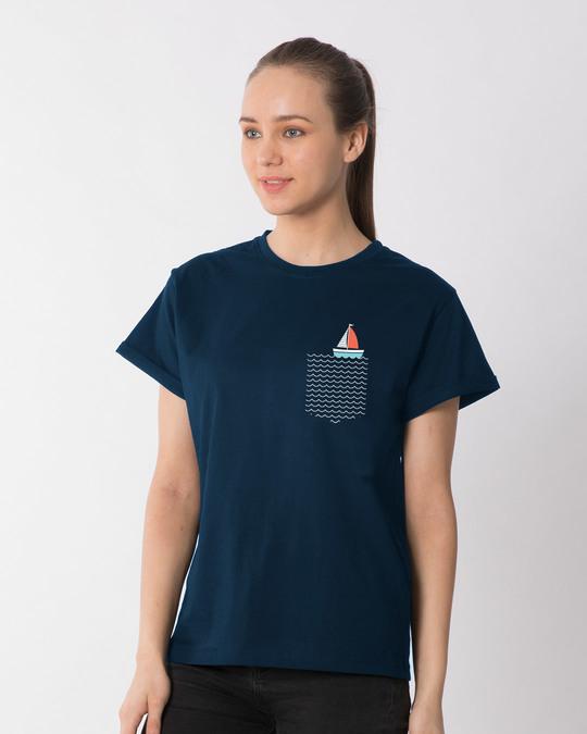 Shop Pocket Sailling Boyfriend T-Shirt-Full