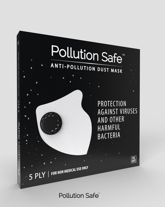 Shop Pollution Safe Reusable PM 2.5,5 Layered Filtration Anti Pollution and Anti Dust Mask Pack of 3-Back