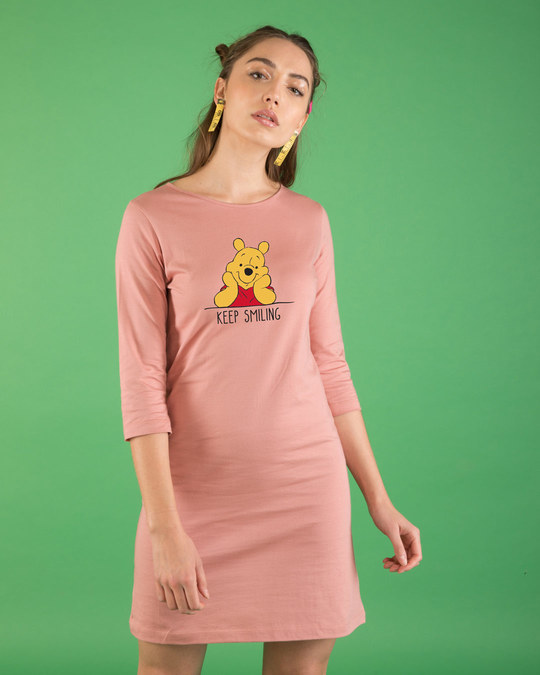 Shop Pooh Keep Smiling Boat Neck 3/4th Sleeve T-Shirt Dress (DL)-Front