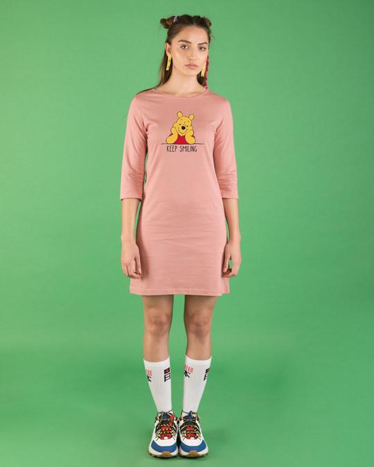 Shop Pooh Keep Smiling Boat Neck 3/4th Sleeve T-Shirt Dress (DL)-Full