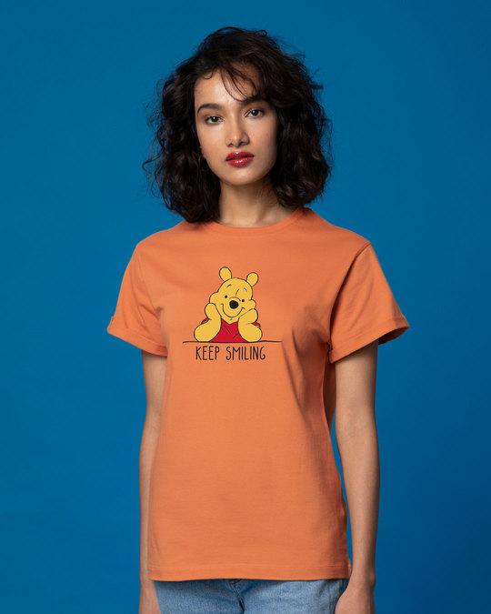 Shop Pooh Keep Smiling Boyfriend T-Shirt (DL)-Front