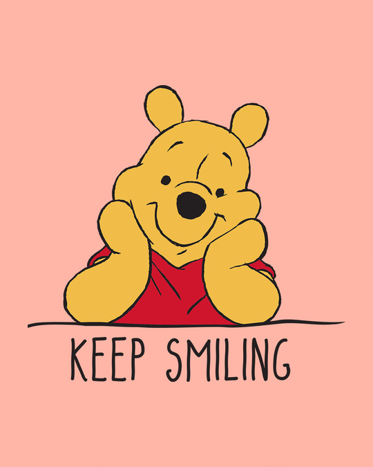 Shop Pooh Keep Smiling Round Neck Crop Top T-Shirt (DL)-Full