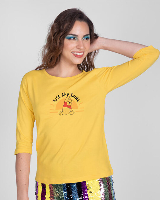 Shop Pooh Rise & Shine Round Neck 3/4th Sleeve T-Shirt (DL) Happy Yellow-Back