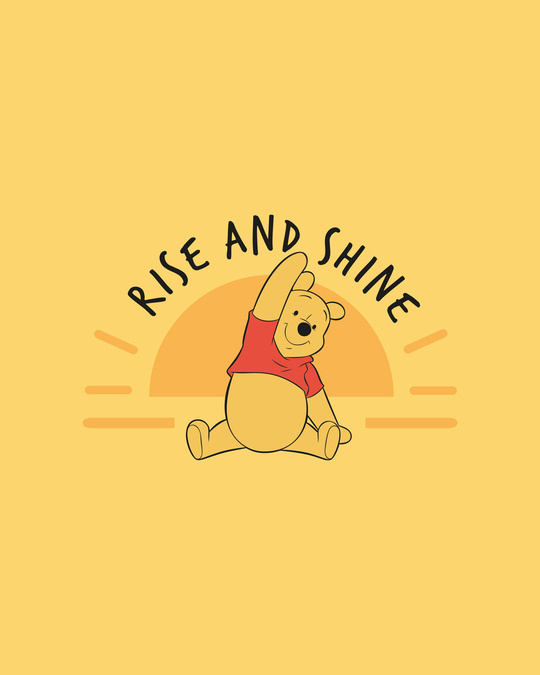 Shop Pooh Rise & Shine Round Neck 3/4th Sleeve T-Shirt (DL) Happy Yellow