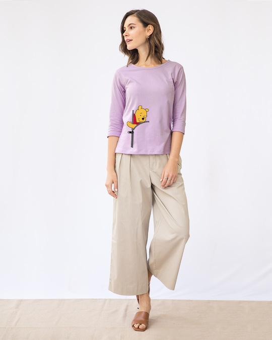 Shop Pooh Zip Round Neck 3/4th Sleeve T-Shirt (DL)-Design