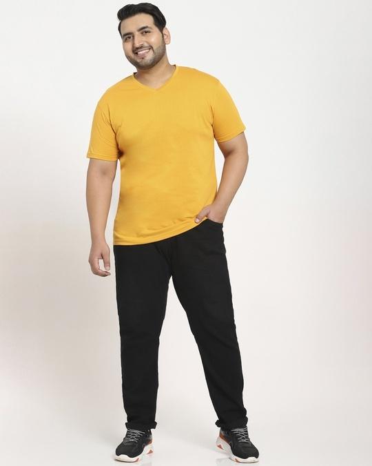Shop Popcorn Yellow V-Neck T-Shirt-Full