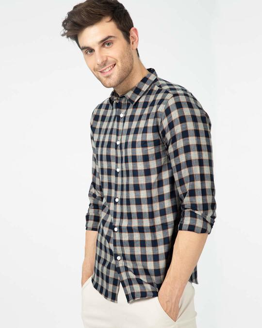 Shop Porpoise Grey Checked Shirt-Front