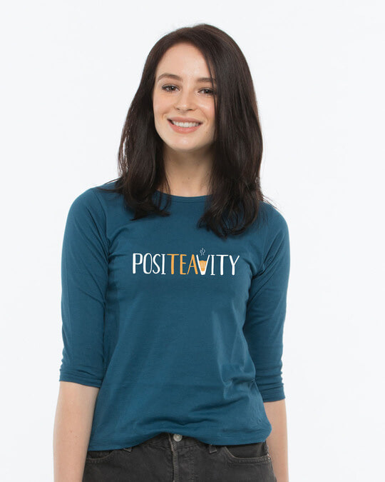 Shop Positivity Round Neck 3/4th Sleeve T-Shirt-Front
