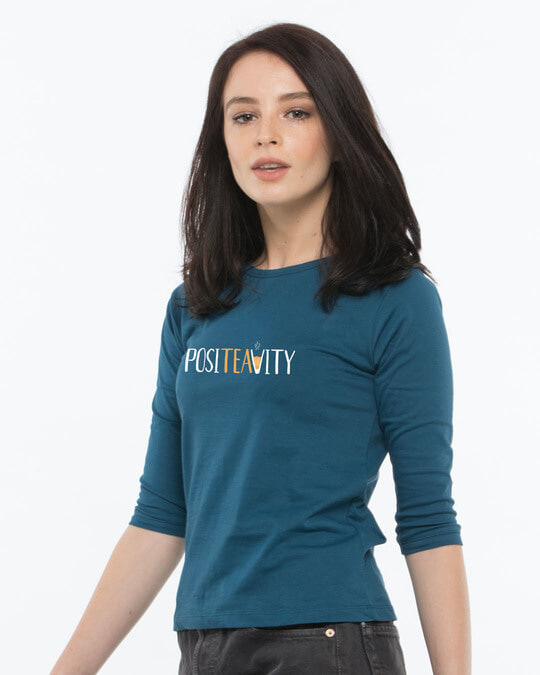 Shop Positivity Round Neck 3/4th Sleeve T-Shirt-Back