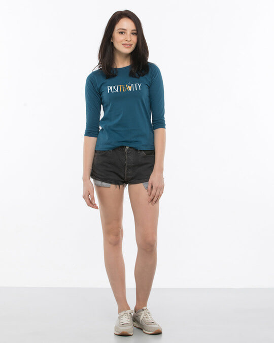 Shop Positivity Round Neck 3/4th Sleeve T-Shirt-Full