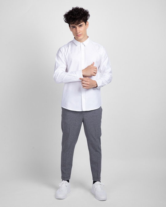 Shop Powder White Solid Shirt-Full