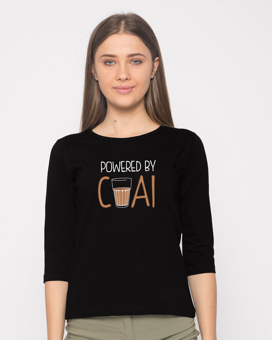 Shop Powered By Chai Round Neck 3/4th Sleeve T-Shirt-Front