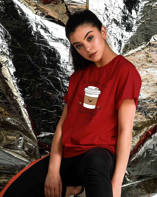 Shop Powered By Coffee Boyfriend T-Shirt Bold Red-Front