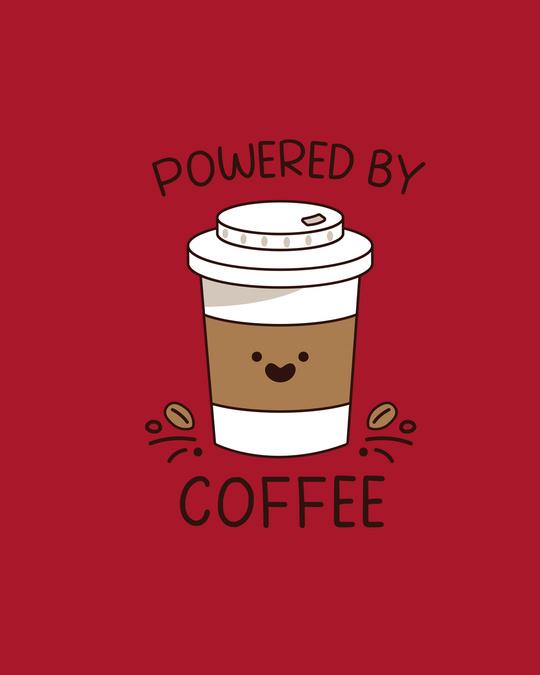 Shop Powered By Coffee Boyfriend T-Shirt Bold Red