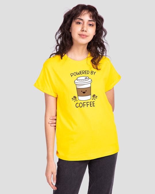 Shop Powered By Coffee Boyfriend T-Shirt Pineapple Yellow-Front