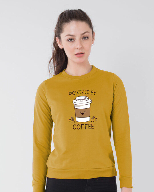 Shop Powered By Coffee Fleece Sweater Mustard Yellow-Front