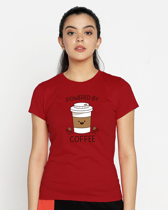 Shop Powered By Coffee Half Sleeve T-Shirt Bold Red-Back