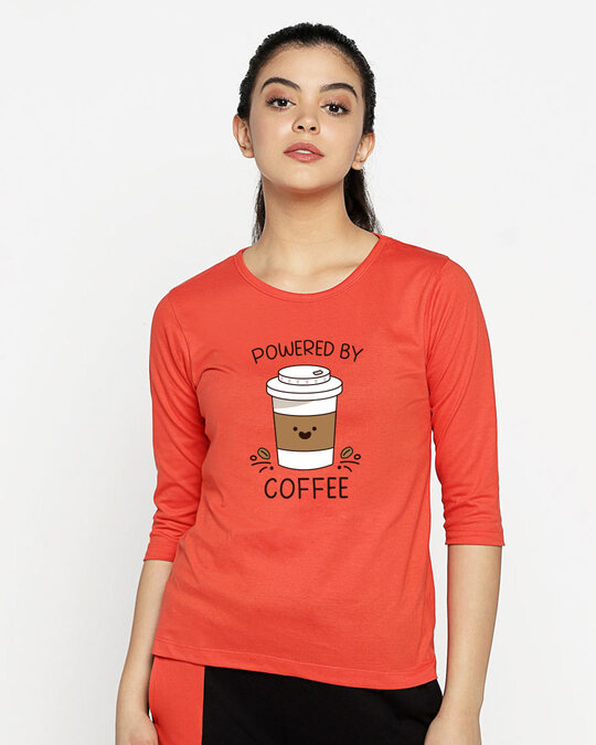 Shop Powered By Coffee Round Neck 3/4th Sleeve T-Shirt Smoke Red-Back
