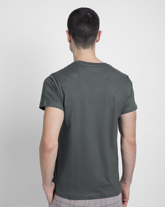 Shop Powerful People Half Sleeve T-Shirt Nimbus Grey-Back