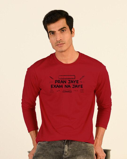 Shop Pran Aur Exams Full Sleeve T-Shirt Bold Red-Front