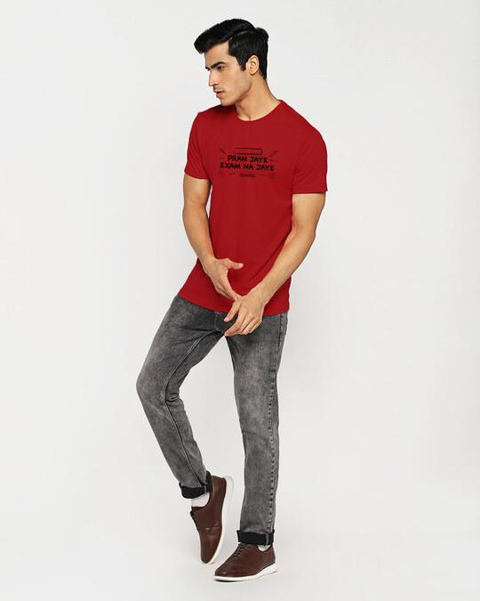 Shop Pran Aur Exams Half Sleeve T-Shirt Bold Red-Full