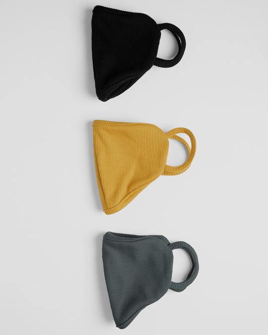 Shop 2-Layer Premium Protective Masks - Pack of 3 (Jet black-Mustard yellow-Nimbus grey)-Design