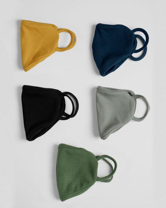 Shop 2-Layer Premium Protective Masks - Pack of 5 (Mustard yellow-Jet black-Blue Purple-Meteor grey-Dark olive)-Design