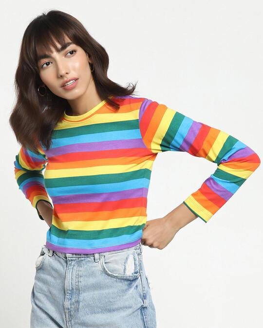 Shop Pride Multicolor Stripe Full Sleeve Snug Blouse-Front