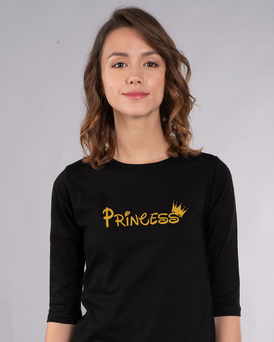 Shop Princess Girl Round Neck 3/4th Sleeve T-Shirt-Front
