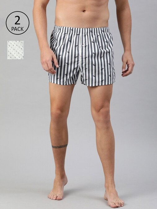 Shop Printed Men's Boxers Woven ( Pack Of 2 )-Front