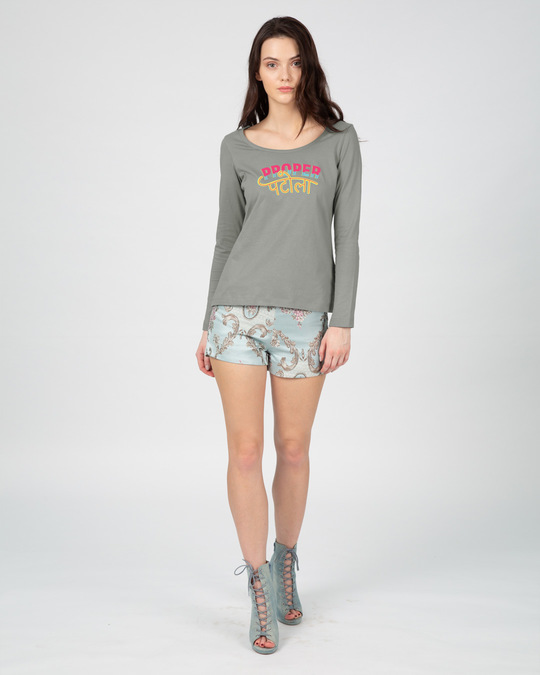 Shop Proper Patola Scoop Neck Full Sleeve T-Shirt-Full