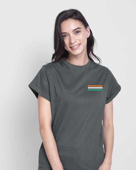 Shop Proud Indian 47 Boyfriend T-Shirt - Nimbus Grey-Back