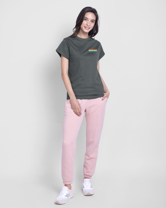 Shop Proud Indian 47 Boyfriend T-Shirt - Nimbus Grey-Full
