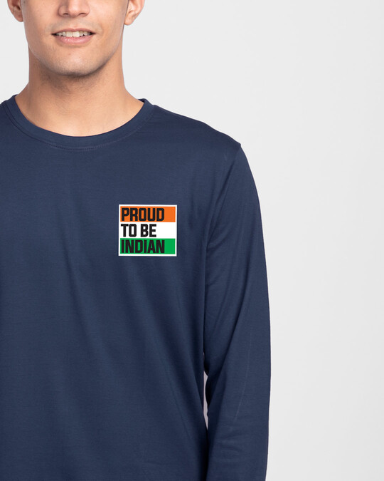 Shop Proud Indian Full Sleeve T-Shirt - Galaxy Blue-Front