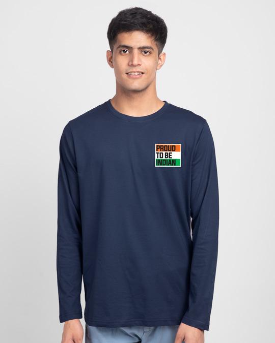 Shop Proud Indian Full Sleeve T-Shirt - Galaxy Blue-Back