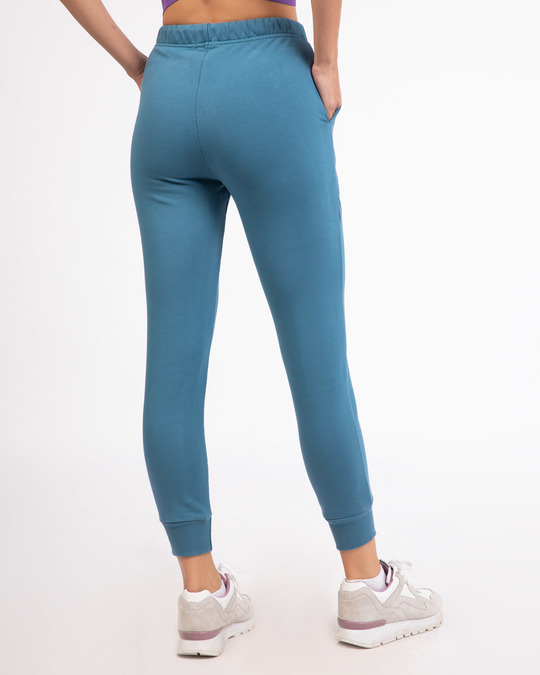 Shop Prussian Blue Fleece Joggers-Design