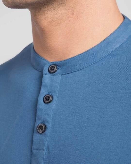 Shop Prussian Blue Full Sleeve Henley T-Shirt