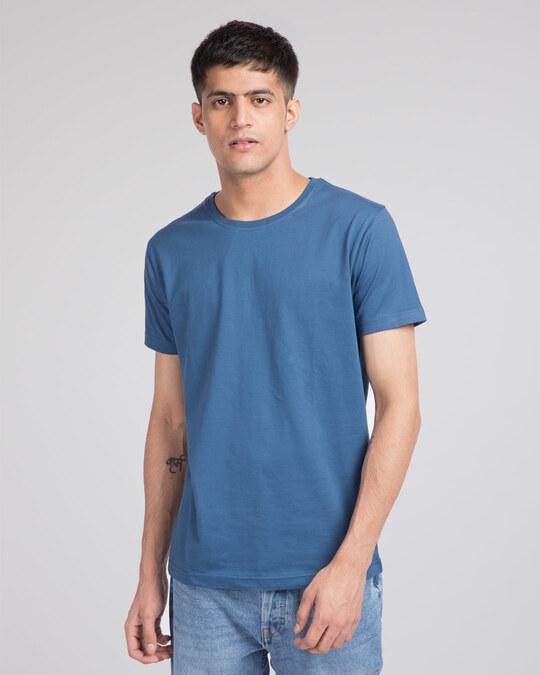 Shop Prussian Blue Half Sleeve T-Shirt-Front