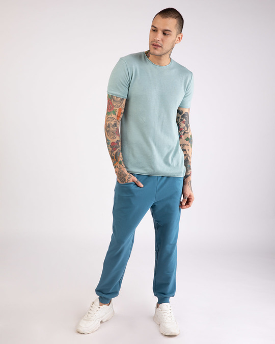 Shop Prussian Blue Round Pocket Joggers Pants-Full